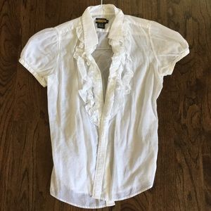 Rugby Ralph Lauren White Ruffle Top